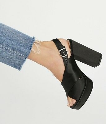 Schutz Sandal Heel 5'' black Satin Platform Bought at Free People 7 New Satin Platform Sandal