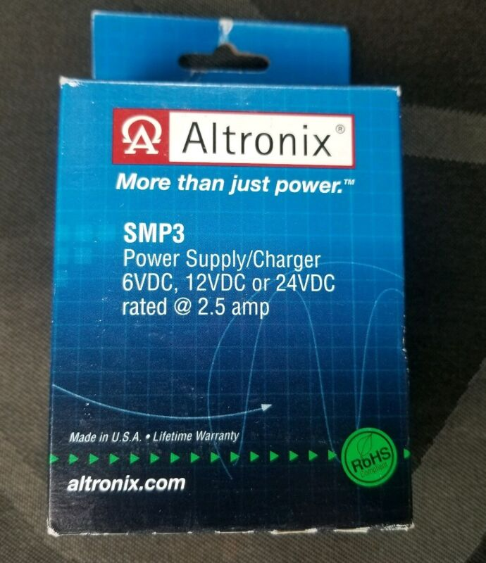 Altronix SMP3 Power Supply/Charger 6/12/24 VDC Rated @ 2.5 amps