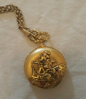 Vtg Disney Mickey Gold 3D Verichron Quartz Railroad Train Pocket Watch & Chain
