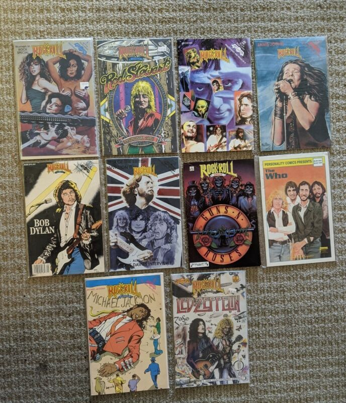 10 ROCK AND ROLL REVOLUTIONARY COMICS LED ZEPPELIN MICHAEL JACKSON  THE WHO LOT