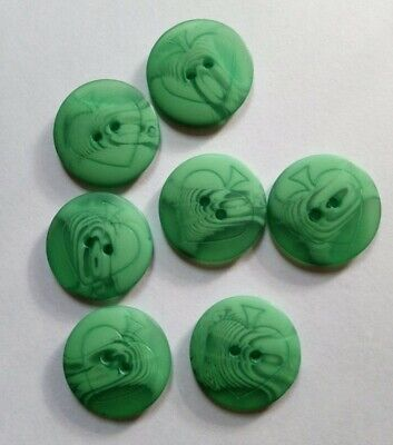Green matte Buttons with an apple/hearted shaped emblem X 7,    21mm diameter