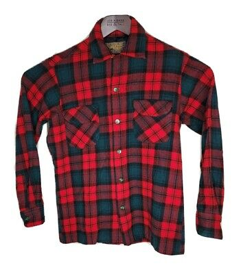1940s Men's Shirts, Sweaters, Vests Vintage 1940's Pendleton 100% Wool Board Shirt Red Plaid Size Small to Medium $79.99 AT vintagedancer.com