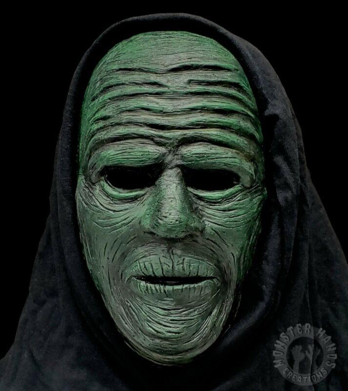 Handmade Halloween Green Latex Half Mask Original Ghoul Design Haunted Cosplay