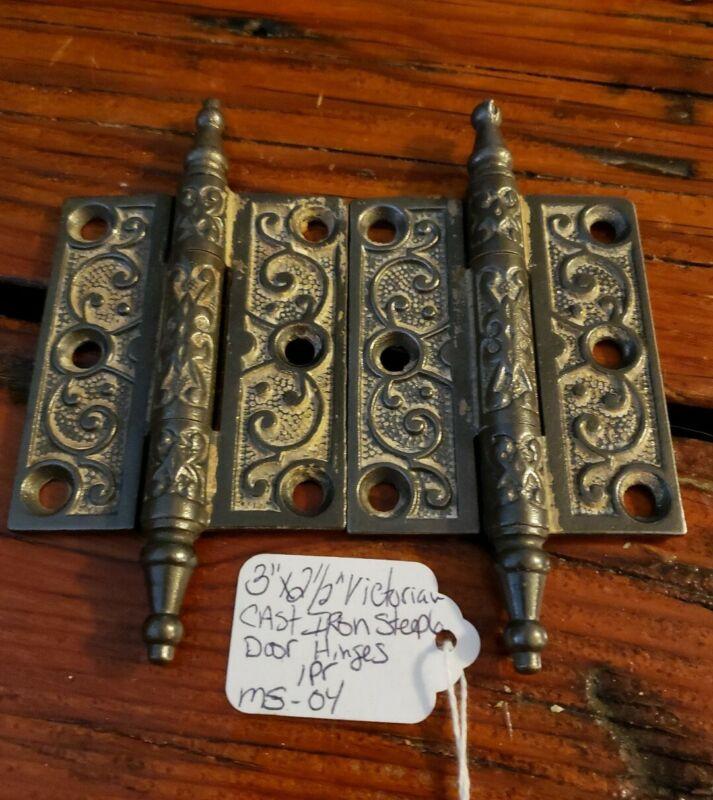 """3"""" x 2.5"""" Victorian Cast Iron Steeple Butt Antique Door Hinges - 1 Pair - #4"""