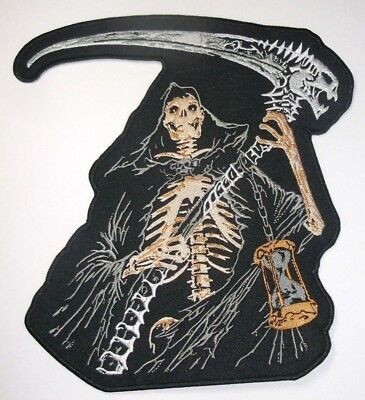 """Grim Reaper Jacket Vest PATCH~LARGE~8"""" x 7 1/2""""~Iron or Sew~QUALITY~Ships FREE, used for sale  Shipping to India"""