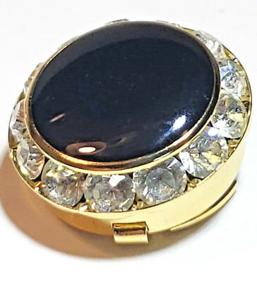 Button Cover 12 Crystal & Black Onyx Formal look Gold Tone Mens Button Cover -