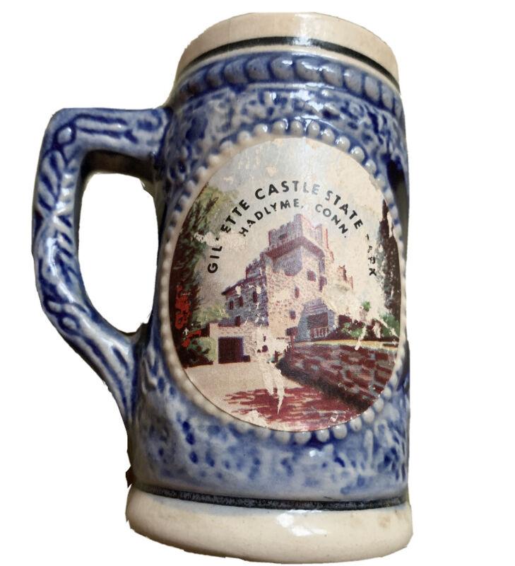 RARE VINTAGE GILLETTE CASTLE HADLYME E. HADDAM CT. SOUVENIR Mini Stein Mug Cup