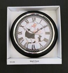 Fat Italian Chef Round Wall Kitchen Clock Black 12 Home Decor
