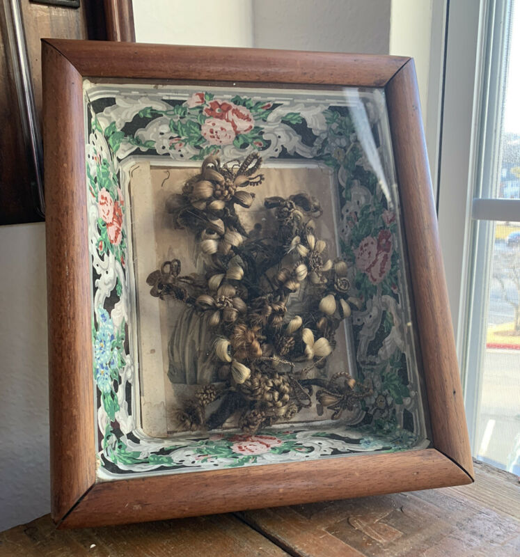 Victorian Memorial Mourning Hair Art Wreath Death Art Walnut Framed