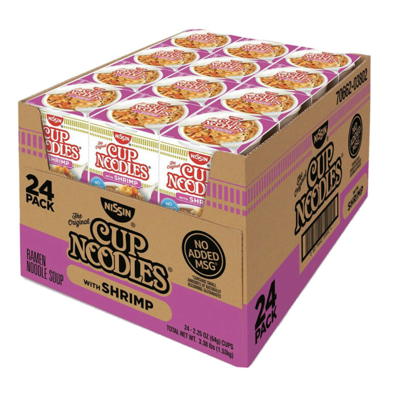 24 - Nissin Cup Ramen Noodle Soup SHRIMP Flavor 2.5 OZ (Pack Of 24