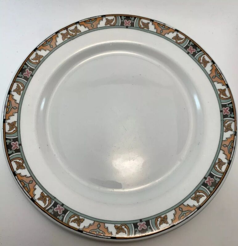 Vintage Buffalo China Floridian Set Of 5 Dinner Plates Early Mark 1915 - 1920