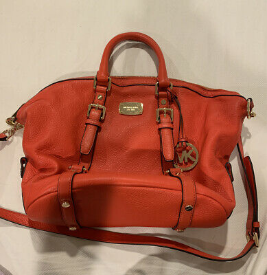 Michael Kors Red Orange Leather Handbag, Used Once