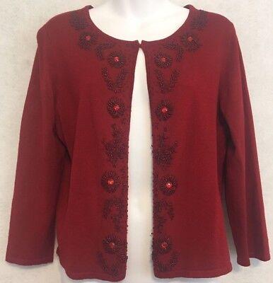 Women's Sweater Dress Barn Christmas Open Front Large Hand Beaded Design Dressy  ()