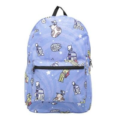 a122ddfb680 Loungefly Star Wars Backpack Bag Droid R2-D2 BB-8 C-3PO NEW