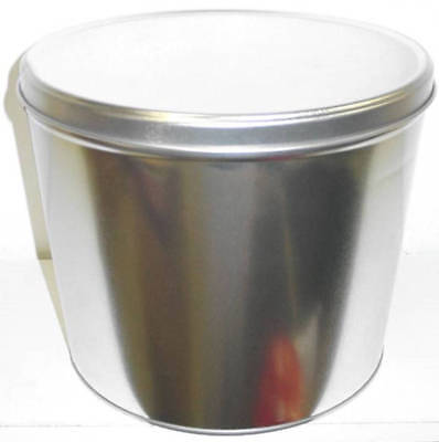 Silver Popcorn Tin Gift with 2 Gallons Caramel Cheddar Cheese Popcorn 2 Gallon Caramel Popcorn