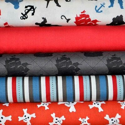 Pirate Matey (Pirate Matey's Red 5 Fabric Fat Quarters by Emily Taylor Designs for Riley Blake)