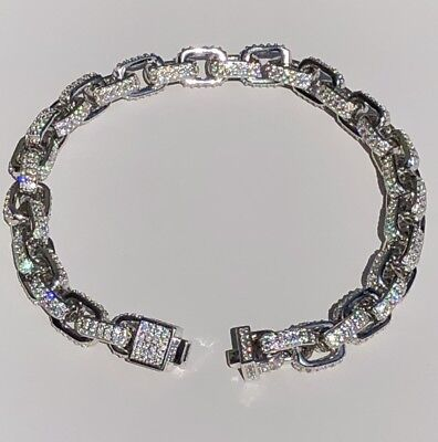 Men's Iced Out Rolo Link Bracelet Solid 925 Silver Man Made Diamonds 6mm