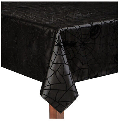 """Lace Tablecloth  Halloween Black Gothic RIP Witches Brew design  60/"""" x  83/"""""""