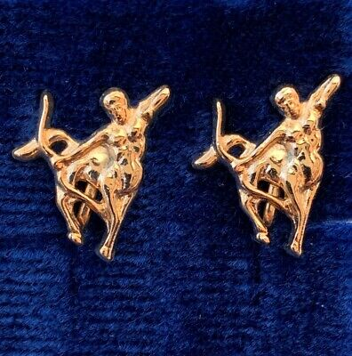 VINTAGE SAGITTARIUS EARRINGS ARCHER CLIP BACK GOLD TONE METAL ASTROLOGY NOS