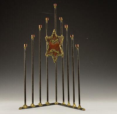 Modernist Hand Crafted Hanukkiah Menorah - Judaica - 9 branch lightstand