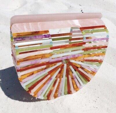 Multi Colored Acrylic Cult Gaia Style Ark Bamboo Rainbow Bag](Rainbow Bag)