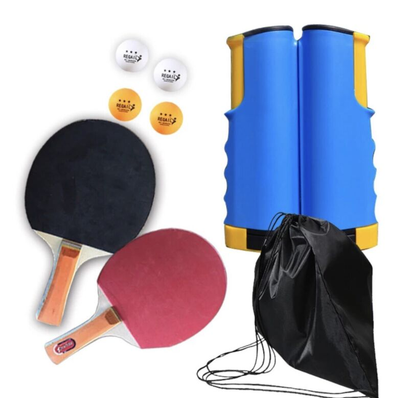 8-Piece Table Tennis/Ping Pong Set, Expandable, Net, 2 Paddles, 4 Balls and Bag
