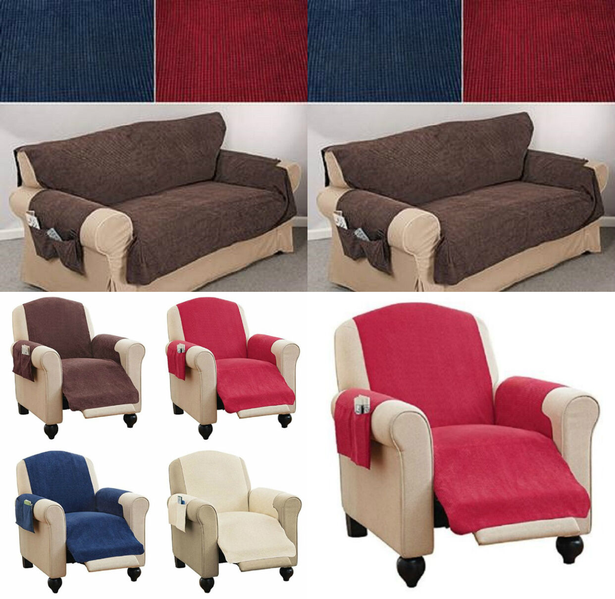 Faux Chenille Recliner Chair Sofa Furniture Cover & Pockets