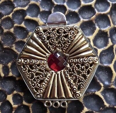 (ONE OF A KIND Vintage Octagon Brass Sterling Silver Box Clasp)