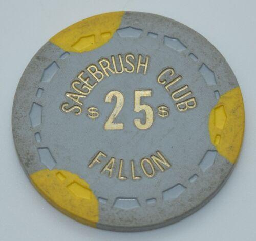 1956 Sagebrush Club $25 Casino Chip Fallon Nevada Sm-Crown Mold