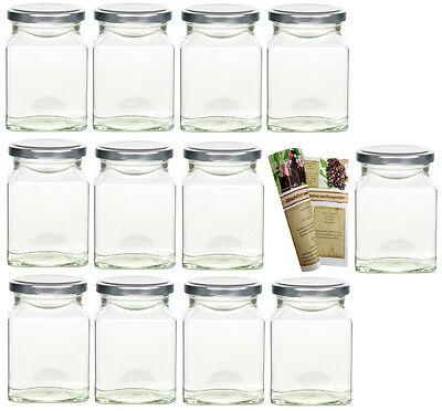 20 x 314 ml Einmachgläser mit Deckel Silber, Marmeladenglas eckig Einweckglas