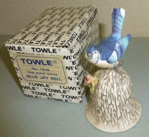 Vintage Towle Fine Bone China Blue Jay Bird Dinner Bell Figurine Figure