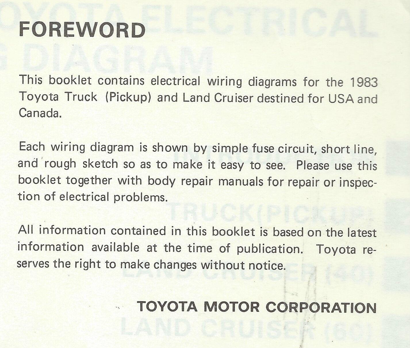 1983 Toyota Land Cruiser Fj Bj 60 Series Electrical Wiring Diagram 1975 Repair Manual