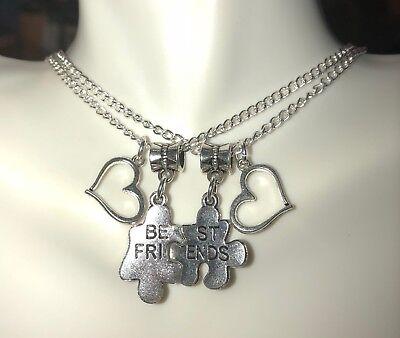 """Best Friend, Friendship, Partner, BFF, Heart & Puzzle Pc Set of 2 Necklaces, 18"""""""