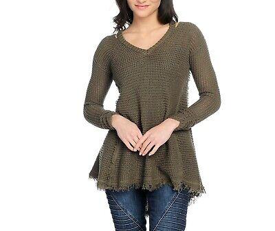 NEW Indigo Thread Co Knit Long Sleeve Frayed Hi-Lo Hem V-Neck Sweater Plus Size Indigo Long Sleeve Sweater