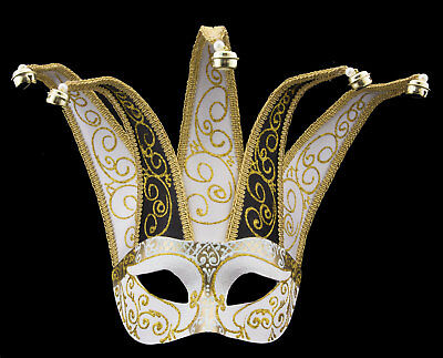 Mask Venice Colombine Jolly White Golden Black IN 5 Spikes Paper Mache 22373