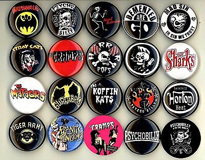 Psychobilly button pin badge set of 20 cramps mad sin tiger army meteors sharks