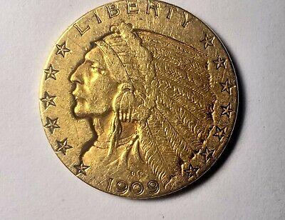 1909 GOLD US $5 DOLLAR INDIAN HEAD HALF EAGLE COIN PHILADELPHIA MINT Indian Head Half Eagle