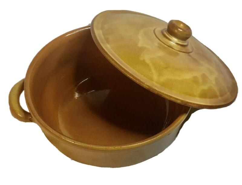 VTG Albisola Terra Cotta Pottery Caramel Casserole Covered Dish Italy MCM