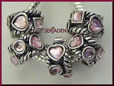 5 Pink Heart Circle & Square Stones Band Spacer Charms 8 * 13 mm& 5 mm Hole -