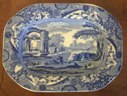 Small Antique Copeland Spode Blue & White Platter Italian Landscape 19th c.
