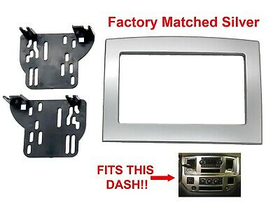 Silver Double Din Dash Kit Truck Car Stereo Radio Install Fits Dodge Ram 06-10