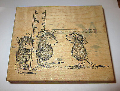 (House Mouse Rubber Stamp Ruler Pencil Stampa Rosa 57 Mice Measuring How Tall )