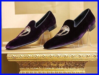 VERSACE BURGUNDY VELVET LOAFER SHOES with GOLD MEDUSA EMBROIDERED 43.5 - 10.5