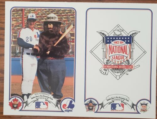 VINTAGE POSTER~1987 Smokey Bear with Mike Fitzgerald Montreal Expos Fire Prevent