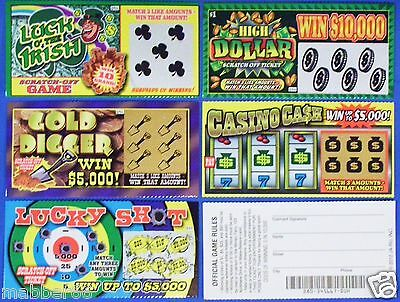 3 Assorted Fake All Winning Winners Scratch Off Lottery Tickets Trick Joke Prank