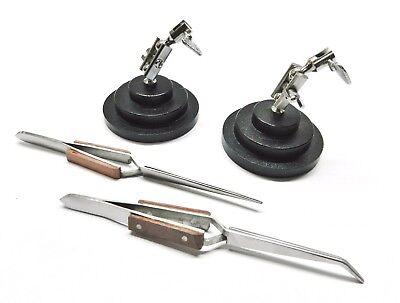 Helping Hand Soldering Stands 3rd Hand Bases 2 Cross Lock Fiber Grip Tweezers