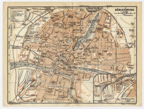 1925 MAP OF KÖNIGSBERG CITY KONIGSBERG KALININGRAD GERMANY EAST PRUSSIA RUSSIA