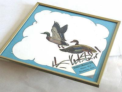 Metal Framed Vintage ADVERTISING MIRROR Machine Shop Mallard Hen Duck 10 FREE SH