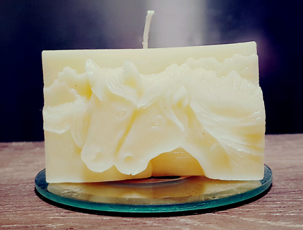 Twin Beeswax Horse Candles