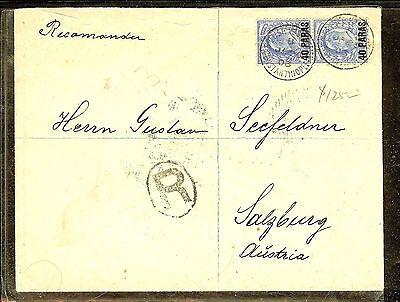 BRITISH LEVANT (P1206B) 1903 KE 40 PA/2 1/2D PR REG CONSTANTINOPLE TO AUSTRIA